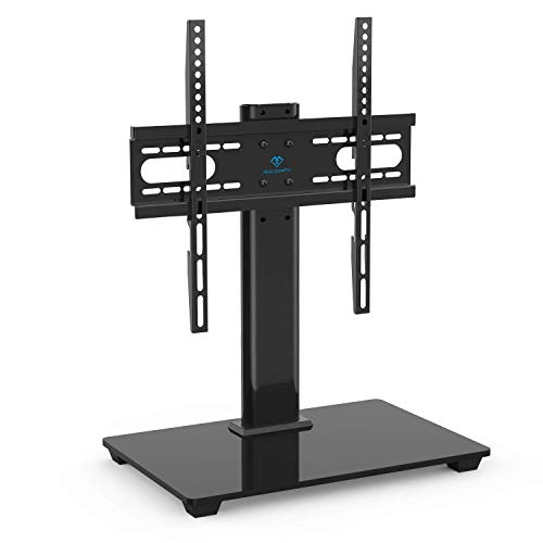 PERLESMITH Universal TV Stand Table Top TV Stand for 37-55 inch LCD LED TVs - Height Adjustable TV Base Stand with Tempered Glass Base and Wire Management, VESA 400x400mm