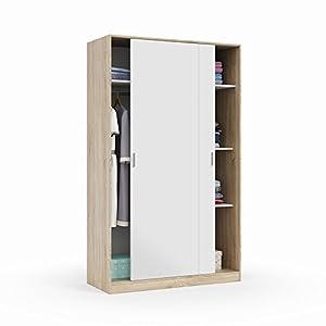 Habitdesign MAX120F - Armario 2 Puertas Correderas y Estantes, para Dormitorio o Habitacion,Acabado en Blanco Artik y Roble Canadian, Medidas: 120 cm (Largo) x 200 cm (Alto) x 50 cm (Fondo)