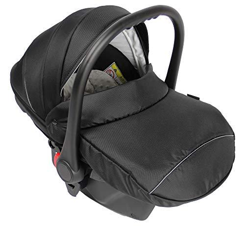Clamaro Babyschale Auto 'JUNO black' ultraleicht 2,95 kg mit Anti-Shock Schaumstoff, Gruppe 0+ (0-13 kg) ECE-R 44/04 - Baby Autositz inkl. Sonnenverdeck und Fußabdeckung - Schwarz