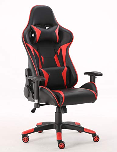 Requena Sport Alpha Desk Chair Adjustable Office Gaming Racing Chair Lumbar and Head Pillow Chair (Red)