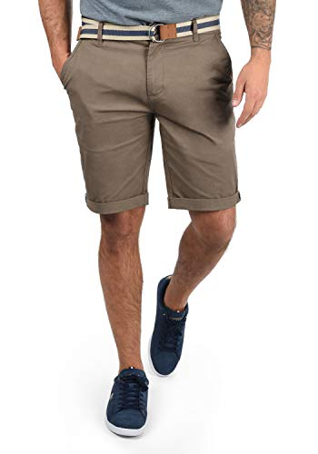 !Solid Monty Chino Pantalón Corto Bermuda Pantalones De Tela para Hombre con Cinturón Elástico Regular-Fit