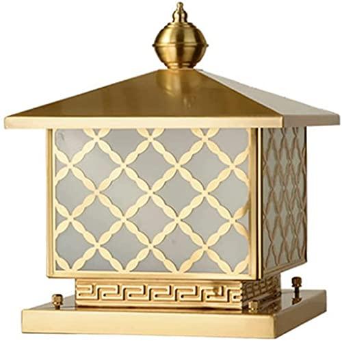 Post kolumn lampa pelare postbelysning traditionell viktoriansk regnbeständig gjuten koppar glas kolumn lampa personlighet vattentät E27 pelare postlampa för utomhus trädgård ytterdörr trappor vägväg