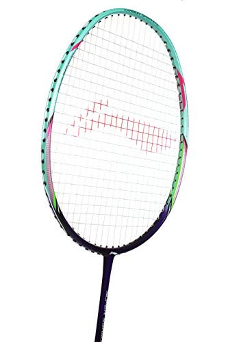 Li Ning Badminton Racket Super Series Player Edition Carbon Graphite Racquet 78+ GMS Professional High Grade Shaft with Padded Badminton Cover (SS 9 III)