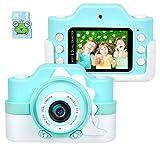 Funkprofi WiFi Digitalkamera für Kinder mit Cartoon Schutzhülle 2 Objektive 24 MP HD 2.0' IPS-Bildschirm mit Aufklebern Digitalkamera als Geschenk Spielzeug (Blau+ 16 G Karte)