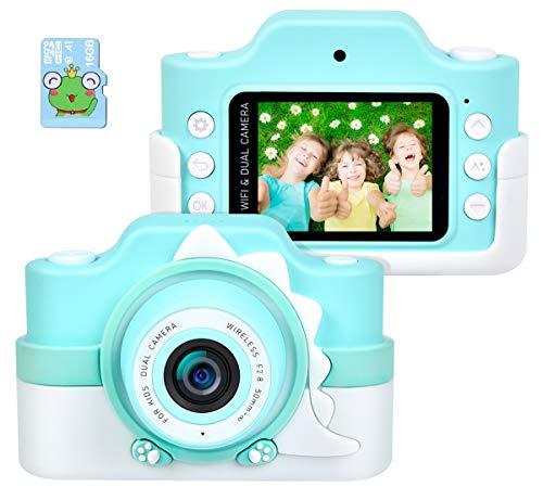 Funkprofi WiFi Digitalkamera für Kinder mit Cartoon Schutzhülle 2 Objektive 24 MP HD 2.0