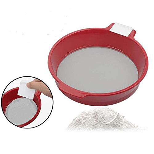 JIAHU Tamiz de harina de malla de 60 tamices de acero inoxidable ultrafino, tamiz manual de plástico grande