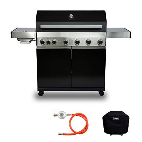TAINO Black 6+1 Gasgrill Set Edelstahl Sear-Burner Power-Zone Keramik-Brenner BBQ Grillwagen Griller Gusseisen Seitenkocher Piezozündung (Black 6+1)