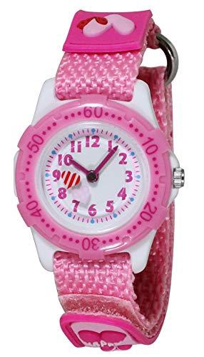 [クレファー] アナログ 子供用 防水 マジックテープ ナイロンベルト 白 文字盤 腕時計 AZ-BAK-4067-PK ガールズ ピンク