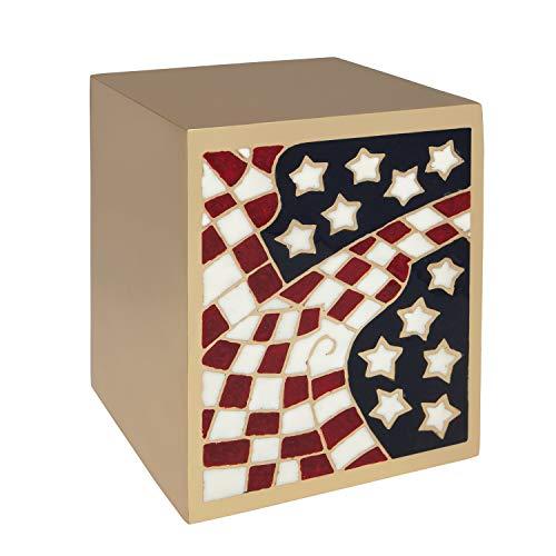 Silver Flag Funeral Urn Box