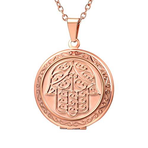 U7 Runde Anhänger zum Öffnen mit 55cm Halskette Rosegold Vergoldet Hand der Fatima Medaillon für Photo Bilder Amulett Valentinstag Weihnachten Geschenk für Frauen Mutter Freundin