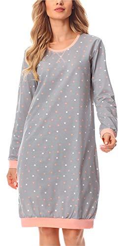 Merry Style Damen Nachthemd MS10-180 (Grau/Punkten, S)