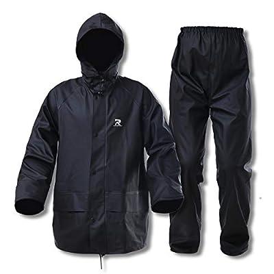 Commercial Rain Jacket with Pants for Men Women Rain Suits Waterproof Heavy Duty Foul Weather Gear(Black, Medium)