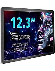 EVICIV 12.3インチタッチパネルモバイルモニター液晶パネル1600x1200@60Hz/標準-HDMIコネクタ/電源供給DC/ゲームモニタ ディスプレイ/PCモニター/金属筐体/薄型9.9mm/軽量/スピーカ内蔵/XBOX ONE S, XBOX ONE, PS4, MACBOOK PROなど対応/日本語対応(12.3インチ金属)