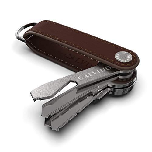 Calvinos Premium Key Organizer | Echt Leder Schlüsseletui | Schlüssel Organizer mit Flaschenöffner Damen und Herren | Braun | Bis zu 7 Schlüssel