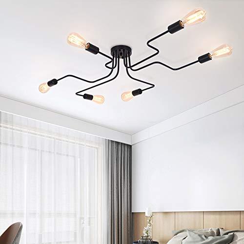 OYIPRO Moderno Candelabro Negro Lámpara de techo 6 E27 para sala de estar Dormitorio Comedor (Sin bombilla)
