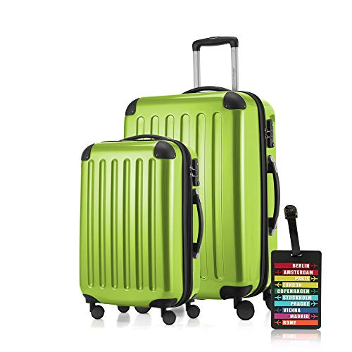 Hauptstadtkoffer - Alex 2er Koffer-Set Koffer Trolley Rollkoffer Reisekoffer Erweiterbar, 4 Rollen, TSA, 55+65 cm, 42+74 Liter, Apfelgrün +Design Kofferanhänger