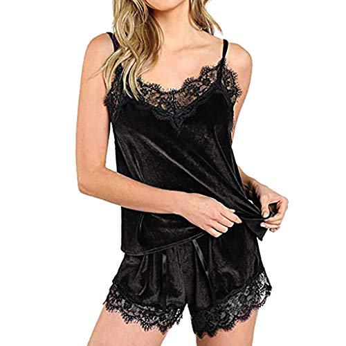 MRULIC Damen Nachtwäsche ärmellose Trägerlose Schlafanzüge Spitzenbesatz Wildleder Cami Tops Gute Qualität Pyjama 2 Stück Morgenmäntel(Schwarz,S)