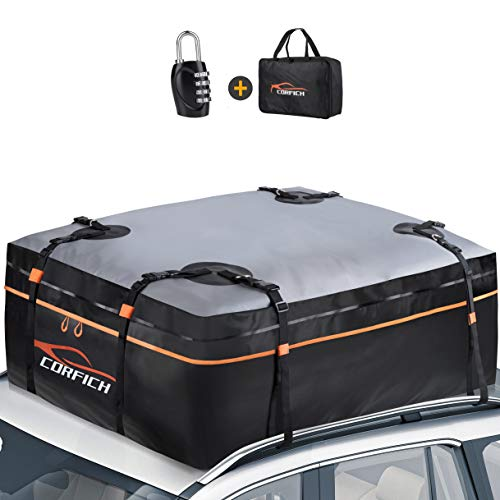 COCRFICH Car Rooftop Cargo Carrier, 15 Cubic Feet Waterproof Roof Rack Cargo Carrier with Free Lock+8 Reinforced Straps + 4 Door Hooks Suitable for All Vehicle with/Without Rack (Orange)