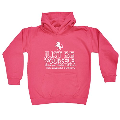 123t Kids Girl's Just Be Yourself ... Unicorn (Age-7-8 - PINK) KIDS HOODIE