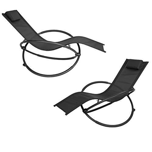 EUGAD 2tlg Schaukelstuhl Gartenliege Gartenschaukelstuhl Schwingstuhl Relaxliege für Terrasse Balkon,Gartenmöbel, Metallgestell + Textilgewebe, Schwarz