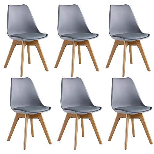 P&N Homewares Lorenzo - Juego de 6 sillas de diseño esc