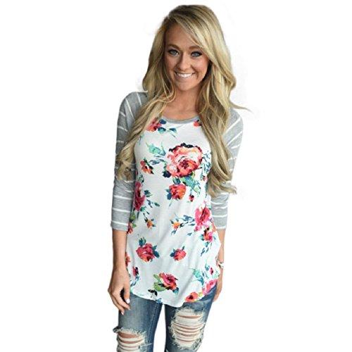 OVERDOSE Damen Lässige Blumen Splice-Streifen Druck Rundhalsausschnitt Pullover Bluse Tops T-Shirt (XL, Weiß)