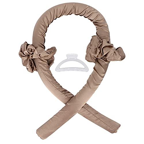 Cabelos para dormir cacheados, portátil rápido prático Convinient sem calor cabelo cacheados tiara para mulheres para meninas para banquetes e uso diário para festas de aniversário(Cáqui)