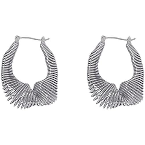 CLKE Pendientes de aro de bambú de moda de acero inoxidable para mujer personalidad temperamento pendientes de metal creativos exagerados colgantes