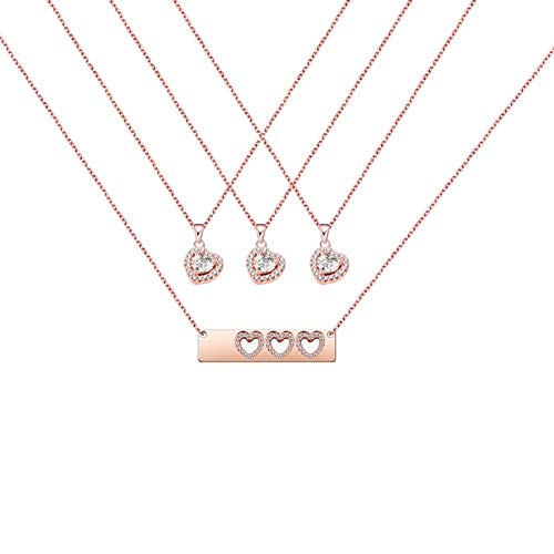 Daughter Gifts Mother Daughter Necklace Cubic Zirconia Love Pendant Necklace Mother's Day Gift (mother and three daughters necklace set)