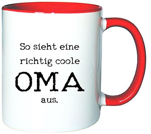 Mister Merchandise Kaffeetasse Becher So Sieht eine richtig Coole Oma aus Omi Großmutter, Farbe: Weiß-Rot