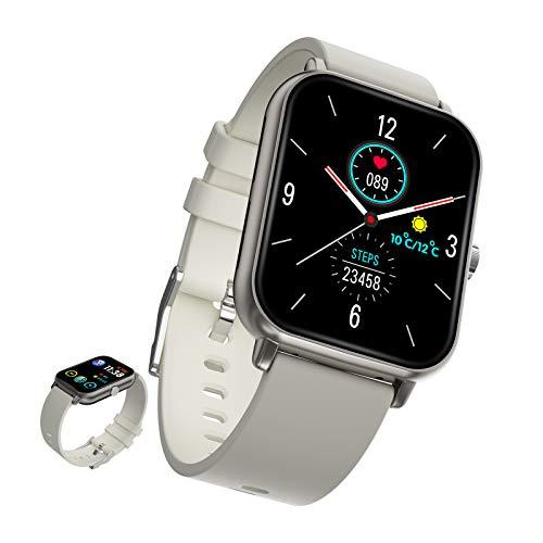BNMY Smartwatch Reloj Inteligente con Pulsómetro Cronómetros Llamada Bluetooth Monitor De Sueño Podómetro Monitores Actividad Impermeable IP67 Smartwatch Hombre para Android iOS,Gris