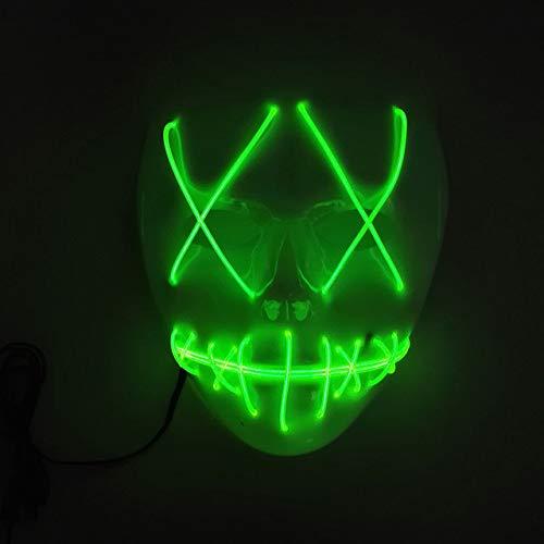 BFMBCHDJ Led Maske Halloween Mascara Glow Maske Neon Party Maskerade Maske Karneval Weiß Horror...