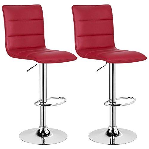 WOLTU BH15bd-2 Design Hocker mit Griff, 2er Set, stufenlose Höhenverstellung, verchromter Stahl, Antirutschgummi, pflegeleichter Kunstleder, gut gepolsterte Sitzfläche, Bordeaux