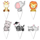 Jungle Safari Cupcake Toppers - Safari Animals Cake Topper - Super Cute Zoo Animal Cupcake Picks - Easy Set Up For Baby Shower and Birthday Party - Set of 48 by Pretty Cute Studios