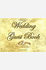 Wedding Guest Book: Gold with floral interior guest book for the special day. Soft matte cover finish that is made affordable to offer the couple great quality without breaking the budget. Paperback
