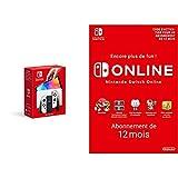 Console Nintendo Switch (Modèle OLED) avec Station d'Accueil/Manettes Joy-Con Blanches + Switch Online - Abonnement 12 Mois (Code de téléchargement)