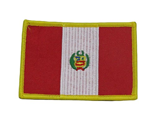 PERU FLAG embroidered iron on PATCH PERUVIAN SOUTH AMERICAN EMBLEM applique PREMIUM QUALITY DETAILED BEST FOR FITS SLEEVES HATS JACKETS VESTS BACKPACKS SCRAPBOOKS PHOTO ALBUMS PATCH