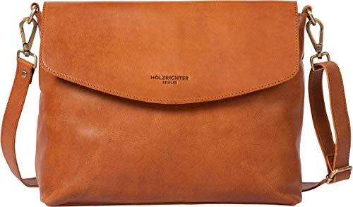 HOLZRICHTER Berlin Umhängetasche No 1-3 (L) cognac - Elegante Handtasche & Schultertasche handgefertigt aus Premium-Leder