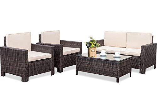 Outdoor Patio Furniture Set, 4pcs Rattan Wicker Sofa Garden Conversation Set Cushioned with Coffee Table For Yard