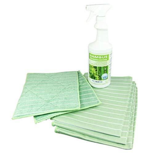 Putzmunter Bambus Premium Komplett-Set Inkl. 750ml Bambusreiniger 6 teilig Poliertuch Vorreinigungstuch
