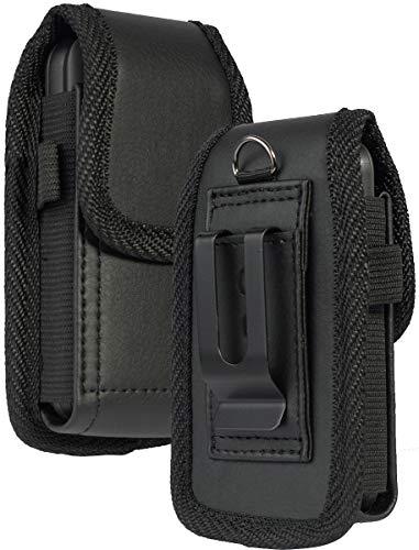 Flip Phone Case, Nakedcellphone Black Vegan Leather Vertical Pouch [with Belt Loop, Metal Clip, Magnetic Closure] for Alcatel Go Flip V, MyFlip, Quickflip, Cingular Flip 2 (A405DL, 4051s, 4044)