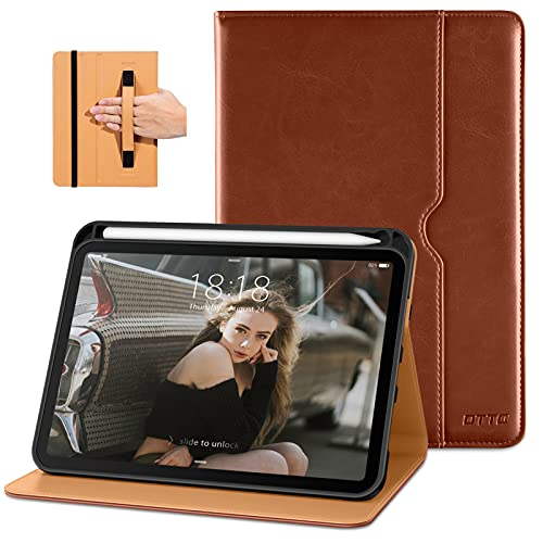 DTTO New iPad Mini 6th Generation Case 8.3 Inch 2021, Premium Leather Business Folio Stand Cover with Built-in Apple Pencil Holder-Auto Wake/Sleep and Multiple Viewing Angles-Brown