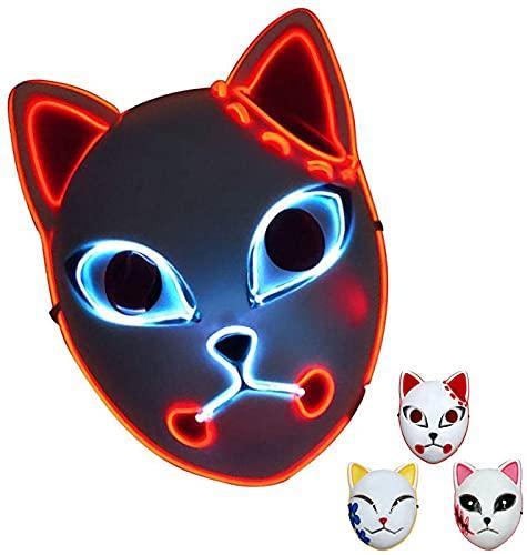 KTMAID Demon Slayer - Máscara LED japonesa para disfraz de anime y cosplay de anime, para Halloween, fiestas, bailes de máscaras, color rojo