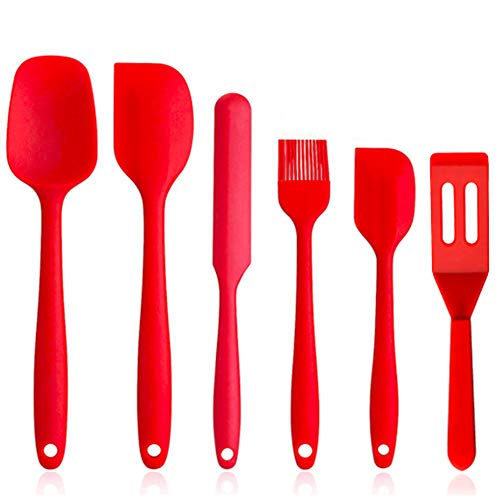 Silicone Spatulas Set,Heat Resistant Rubber Spatula Kitchen Utensils & Gadgets Cooking Utensils Tool, Baking and Mixing - Ergonomic, Dishwasher Safe Bakeware Set of 6,Red