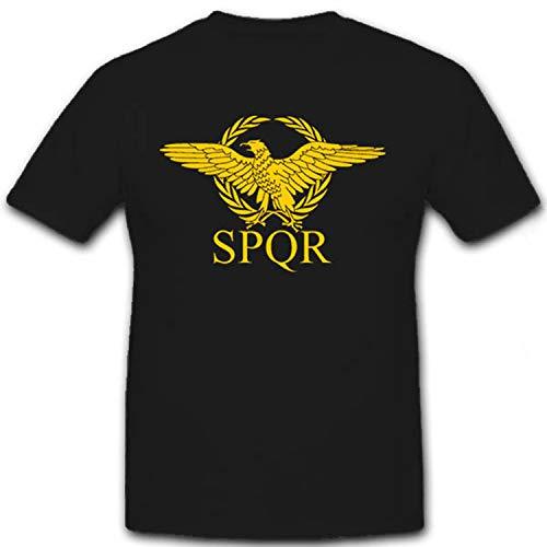 SPQR Romano Legion Águila standarte Escudo senatus Popu lusque Romanus Senado y Popular de Roma–Camiseta # 7365 negro XX-Large