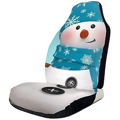 TABUE Juego completo de 2 fundas para asientos de coche, diseño de muñeco de nieve con motivos navideños, para la mayoría de los coches, camiones, furgonetas o furgonetas
