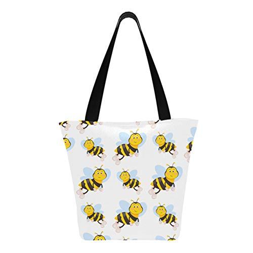 Honey Flower Heart Bee And Hive 11 × 7 × 13 pulgadas Bolsas de compras reutilizables de poliéster resistente lavables a máquina para comestibles Bolsa de asas reutilizable plegable para