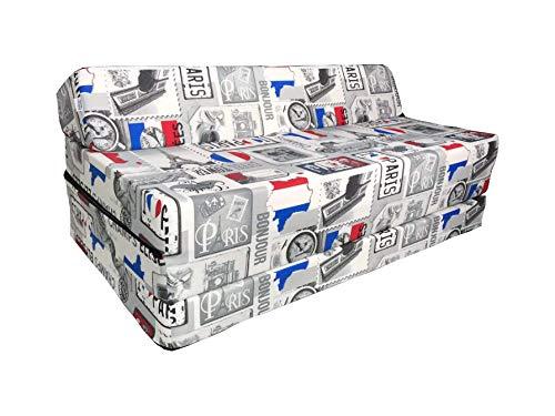 Natalia Spzoo Colchón plegable cama de invitados forma de sillón sofá de espuma 200 x 120 cm (Paris)
