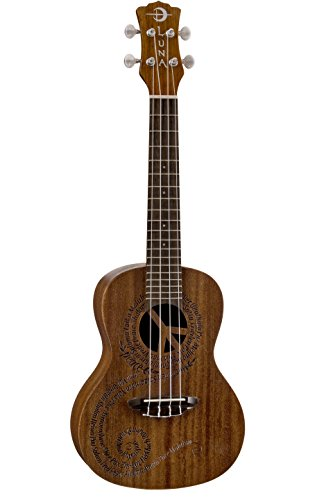 Luna Maluhia Peace Concert Ukulele with Gig Bag, Satin Natural