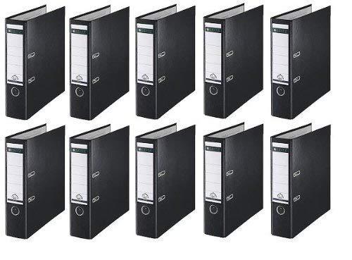 10 LEITZ Ordner 180° 1010-50-95 Schwarz Kunststoff 8cm Plastik PP Aktenordner 80mm DIN A4 Büro mit Schlitzen